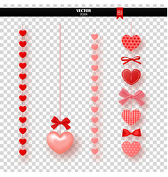 Garland of red hearts and bows on transparent vector