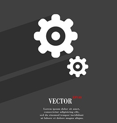 Gears symbol Flat modern web design with long vector