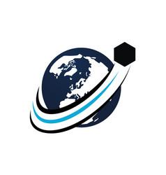 global shipping logo design template vector image