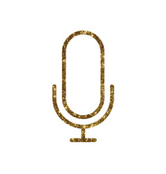 Golden glitter colorful microphone with stand vector