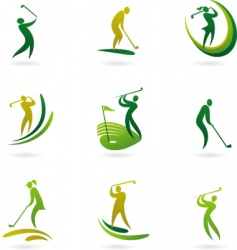 Golfing icons vector