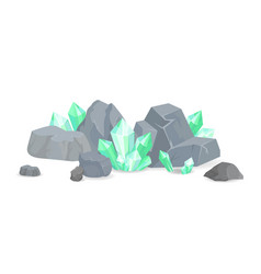 green crystals among stones realistic minerals vector image