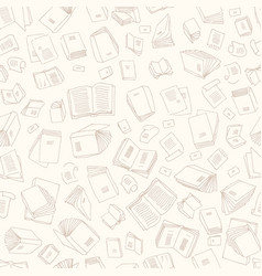 hand drawn sketch of books seamless pattern vector image