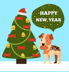 Happy new year greeting card cartoon grey spot dog vector