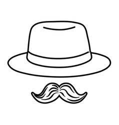 hat and moustache black and white vector image