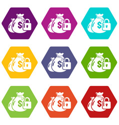 insurance money icons set 9 vector image