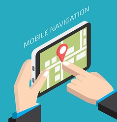Isometric GPS mobile navigation with tablet Man vector image