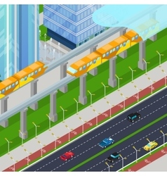 Isometric Monorail Railway Train in Modern City vector