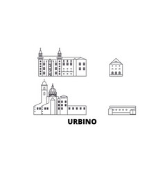 Italy urbino city line travel skyline set italy vector
