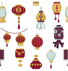 Lanterns of eastern and oriental style seamless vector