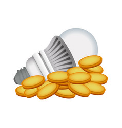 light bulb coins led vector image vector image