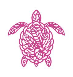 marine turtle template reptile stencil ocean vector image