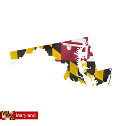 Maryland state map with waving flag us state vector