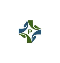 medical herbal initial p vector image