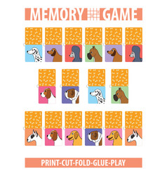 memory card game with cartoon dogs different vector image