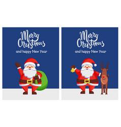 merry xmas happy new year poster santa bag deer vector image