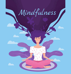 Mindfullness yoga meditation woman sit in the vector