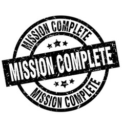 Mission complete round grunge black stamp vector