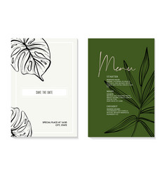 monstera palm leaves sketch tropical jungle card vector image