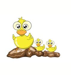 Mother duck and her ducklings cartoon vector