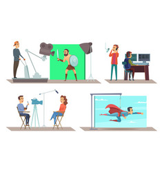 Movie production with actors on set vector