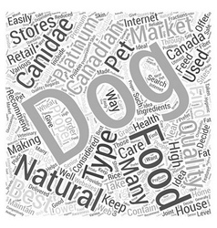 Natural dog food canadian word cloud concept vector