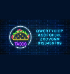 Neon glowing sign of tacos in circle frame wuth vector
