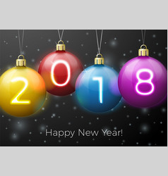 New year poster template bright balls 2018 vector