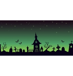 Night cartoon cemetery landscape vector
