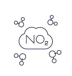 No2 nitrogen dioxide molecule line vector
