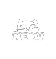 one continuous line drawing cute and adorable vector image
