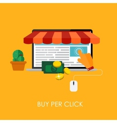 Online Shopping Bue Per Click Flat Concept for vector