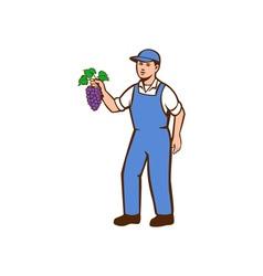 Organic Farmer Boy Grapes Standing Retro vector image