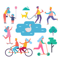 park people activities set vector image