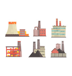 power plants collection industrial manufactory vector image