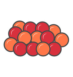 Red caviar isolated icon vector
