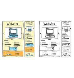 Responsive website layout doodles vector