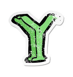Retro distressed sticker of a cartoon letter y vector