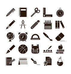school education learn supply stationery icons set vector image