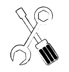 Screwdriver and wrench repair tool icon image vector
