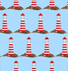 Seamless pattern with lighthouse vector
