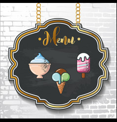 Set design elements chalkboard menu sample vector