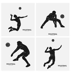 Set volleyball player silhouette of vector