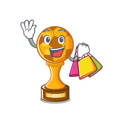 Shopping soccer trophy with mascot shape vector