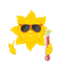 sun with thermometer on white background vector image