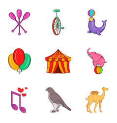 Tame icons set cartoon style vector