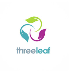 Three color leaf logo vector