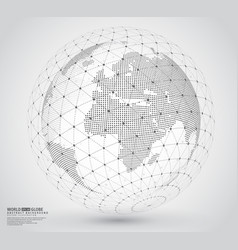 Three-dimensional dotted world map with wireframe vector