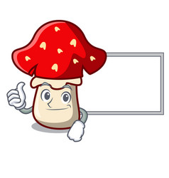 thumbs up with board amanita mushroom character vector image