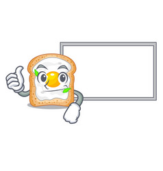 thumbs up with board cartoon eggs sandwich in for vector image